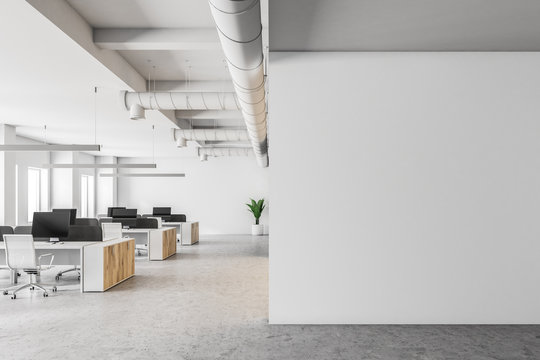 White open space office interior, mock up wall