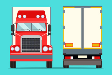 Big truck with trailer. Front  and behind view. Vector flat illustration