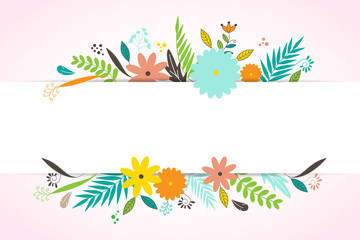 Floral template layout copy space for banner, header, brochure, poster vector illustration