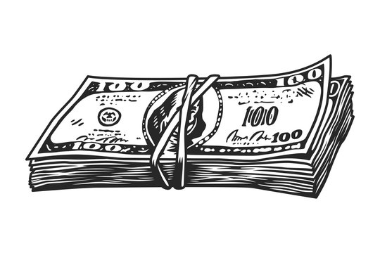 Vintage money stack concept