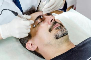 beautician procedure cleansing face men