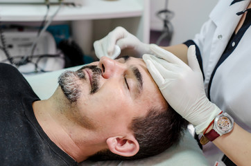 beautician procedure cleansing face men
