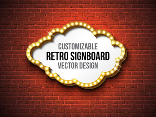 Vector retro signboard or lightbox illustration with customizable design on brick wall background. Cloud shape light banner or vintage bright billboard for advertising or your project. Show, night