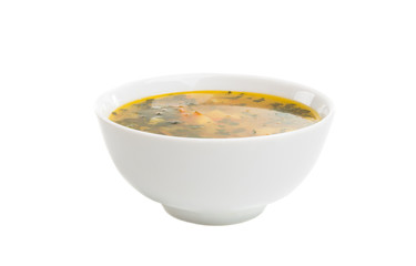 a plate of soup isolated