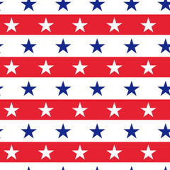 Vector 4th of July seamless pattern with  color stars. Flag USA concept. American flag colors. Independence Day design