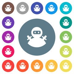 Ninja avatar flat white icons on round color backgrounds
