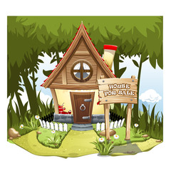 "Cartoon Fairy House on the edge of forest, on a green hill with a signboard ""House for Sale""."