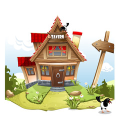 "Cartoon Fairy House on a green hill with a signboard ""Tavern""."