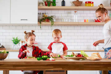 Photo of mother with daughter and son cooking at table