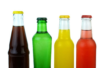 Colorful cold soda drinks on white background.