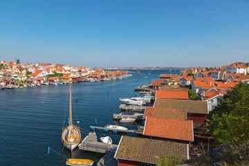 View over a coast village on Swedish west coast