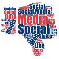 Negative Social media word cloud background concept: thumb down