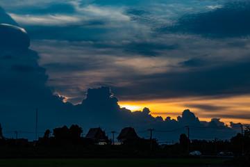 Sunset behind Wat Lad Pha Dook , Temple.