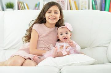 two beautiful cute sisters