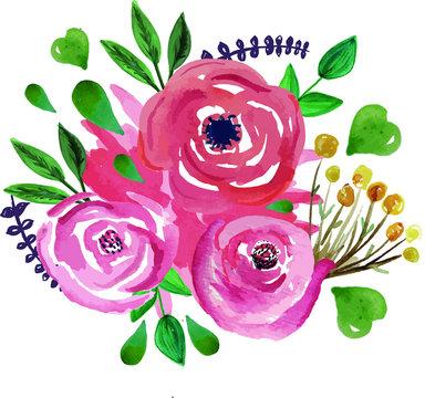 Ramo de flores de acuarela