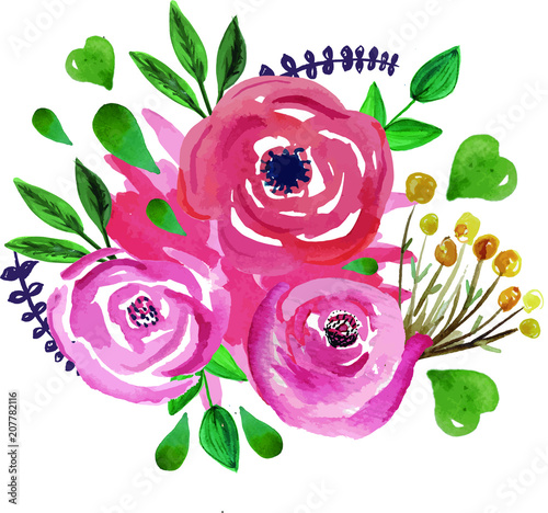 Ramo De Flores De Acuarela Stock Image And Royalty Free Vector