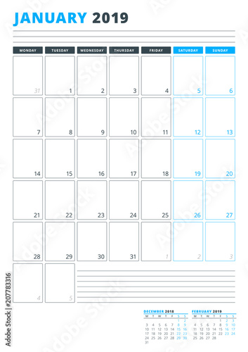 Calendar template for january 2019 business planner template calendar template for january 2019 business planner template stationery design week starts on wajeb Image collections
