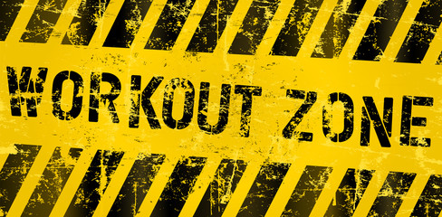 workout zone, sign for gym or fitness studio, grungy style vector