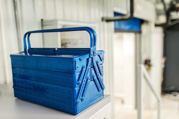 Blue metal tool box.