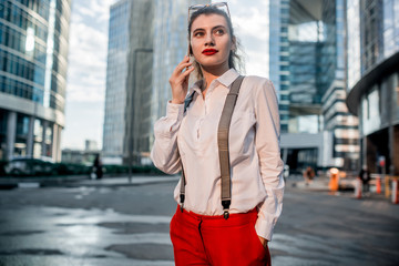 Business Woman With Phone Near Office