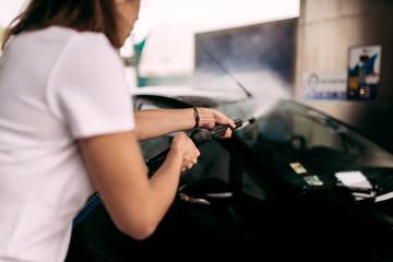 Car wash. Close-up.