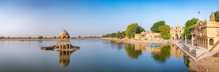 Gadisar lake in the morning at Jaisalmer, Rajasthan, India. An UNESCO World herritage.