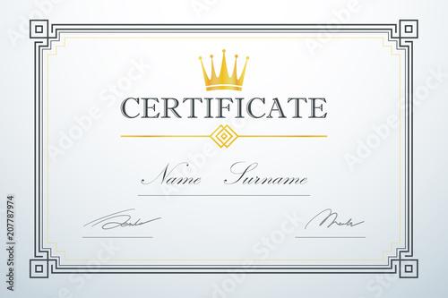 crown logo vintage luxury design certification card frame template