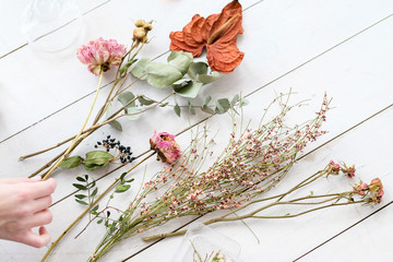 dried flowers and twigs on white background. beautiful creative room decor composition