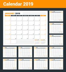 Calendar Template for 2019 year. Business Planner Template. Stationery Design. Week starts on Sunday. Landscape orientation. Vector Illustration