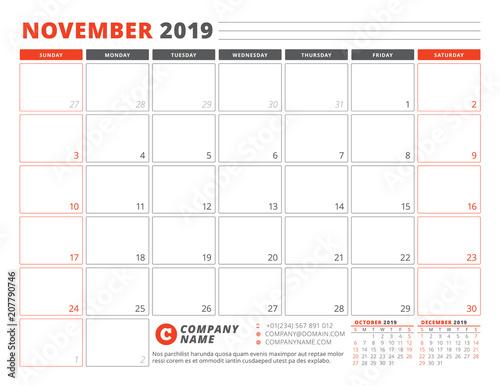 Calendar Template For November 2019 Business Planner Template