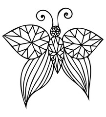 Vector black line butterfly isolated on the white background