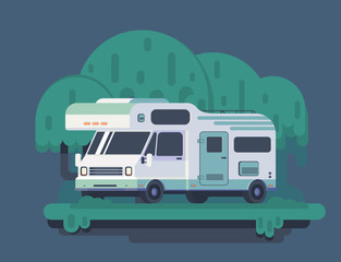 Camping car in forest