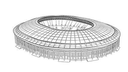 Sketch of the main stadium in Moscow.
