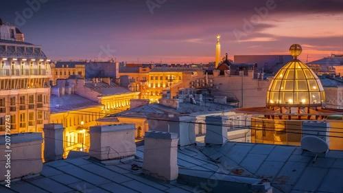 Fotobehang Beautiful sunset over rooftops of St Petersburg, Russia. 4K UHD city skyline timelapse.