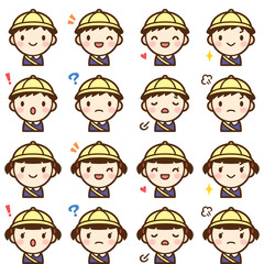 Isolated set of cute kindergarten boy & girl avatar expressions
