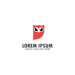 owl red color logo template