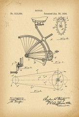 1894 Patent Velocipede Bicycle history invention