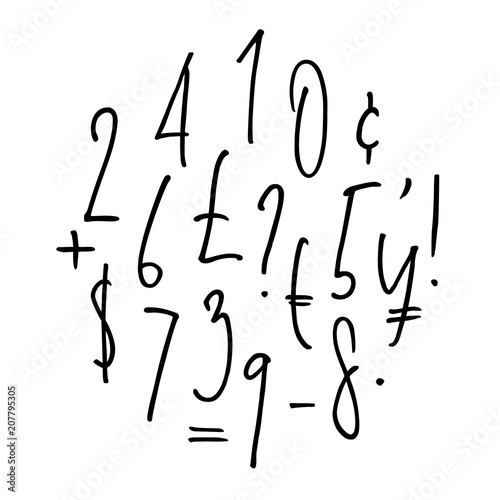 Ballpen lettering numbers, punctuation and currency symbols