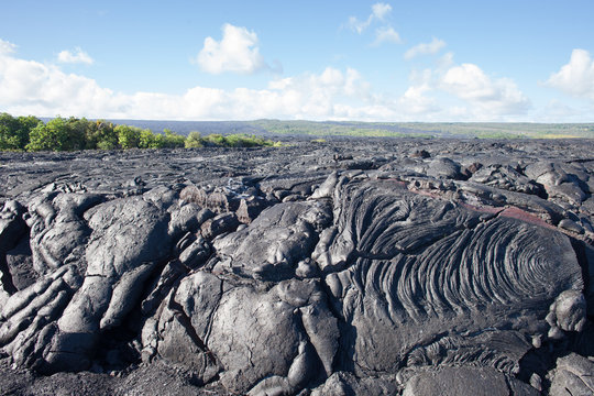 Black Lava Rock Flow on Big Island Hawaii