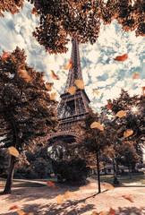 Autumn in Paris near Eiffel tower viewed from the Champ de Mars