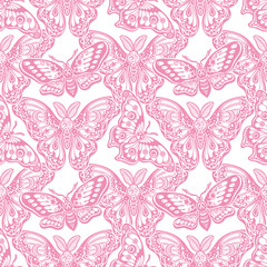 Seamless pattern of butterflies or moths. Repetition background of fantasy style ornate insects