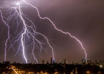 Lightning over Melbourne city skyline