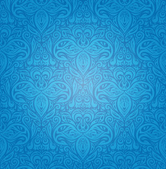 Blue vintage seamless wallpaper background design with decorative flowers