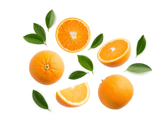 Group of slices, whole of fresh orange fruits and leaves isolated on white background. Top view Fototapete