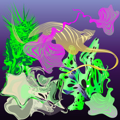Fantastic underwater world: mollusks, seaweed, jellyfishes