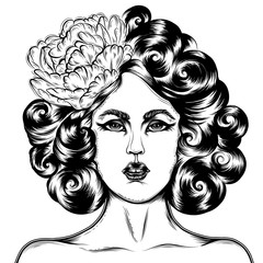 Vector hand drawn tattoo pin up girl.  A girl in retro style with a curly hairstyle and a pion in her hair. T-shirt print design. Face of a woman close up. Isolated on white background