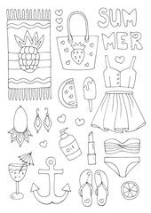 Vector hand drawn set  icons, signs summer fashion beachwear and accessories. Collection Summer elements for summer holiday and party. Set collection for design. Coloring page Isolated on white back