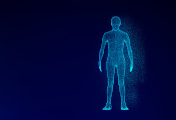 Human model on blue background in technology concept, artificial intelligence. 3d illustration