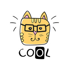 cool cat slogan and face cat vector. Cute cat face hand drawing and cool sign - Vector illustration design - Textile graphic t shirt print