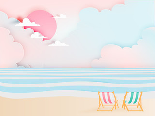 Deck chair on the beach with ocean background for summer